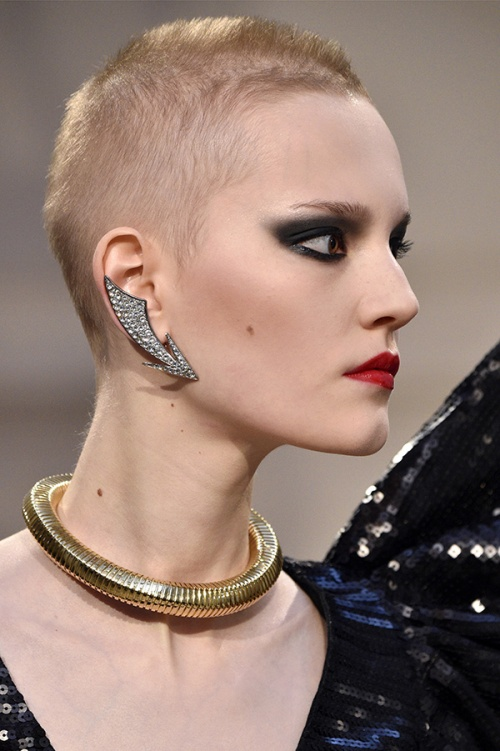 Ear cuffs at Saint Laurent (Credit: AFP Photo/ Martin Bureau)